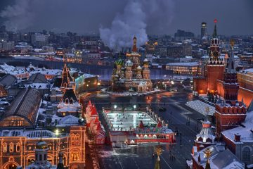 Roter Platz Moskau Nacht von oben