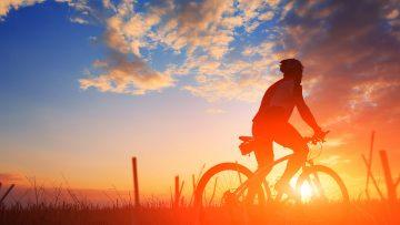 Fahrradfahrer fährt gen Sonnenuntergang