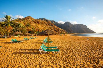 Teresitas Strand mit Palmen und Sonnenliegen