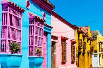 Bunte Häuser in Cartagena, Kolumbien